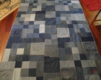 Blue Jean Quilt with a light grey fleece