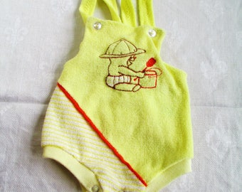Vintage Baby Retro Sunsuit Shortall Bubble Romper 12 months Yellow Terry w/ Embroidered Baby with Pail & Shovel Vintage Baby Or Doll Clothes