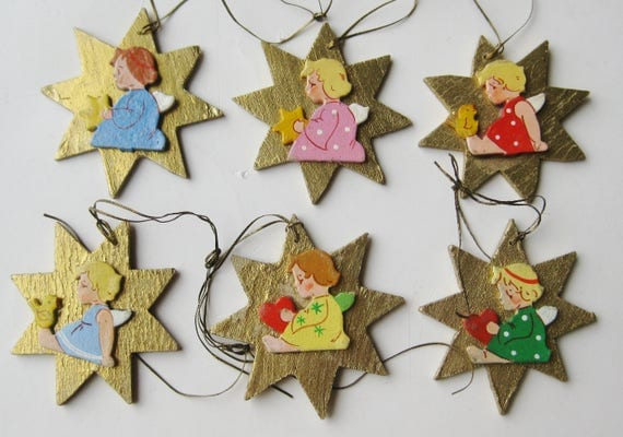 6 Vintage 50s German Hand Made Gold Wooden Angel Star Shaped Flat Christmas Tree Ornaments