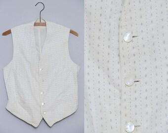1910 Edwardian Cotton Vest Pearl Button Four Pocket Dress Vest