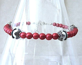 Red Pearl Anklets Red & White Pearl Anklet w/Silver Accents Plus Size Ankle Bracelet Colored Pearl Anklet Handmade Beaded Patriotic Jewelry