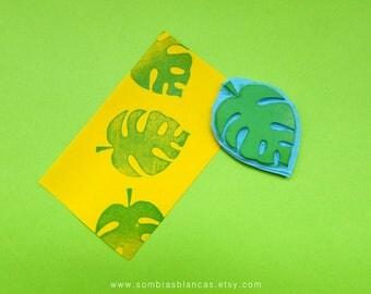 Monstera Leaf Stamp - Hand Carved Rubber Stamp – Scrapbooking Stamp – Card Making – DIY Stationery - Journal Stamp - Printmaking
