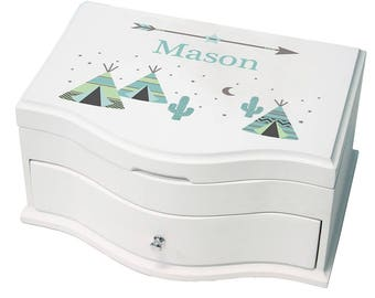 Personalized Deluxe Musical Jewelry Box with Aqua TeePee Design-jewef-242a