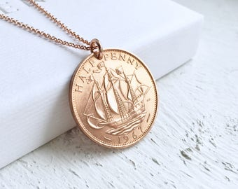 51st Birthday Gift for Women, 1967 Half Penny Necklace, Rose Gold Necklace, Birthyear Necklace, Coin Necklace, Gift for Her