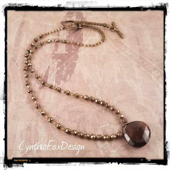 Sparkly Smokey Quartz with Beaded Pyrite and Labradorite Necklace