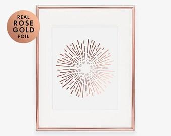 Rose Gold Foil Print ABSTRACT ART Burst Contemporary Art Print Modern Art Office Art Nursery Room Poster Wall Art Geometric Foil Art B1