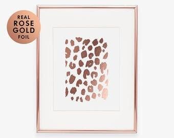 LEOPARD PRINT Rose Gold Foil Print Leopard Print New House Gift  New Apartment Decor Modern Nature Decor Office Art Print B3
