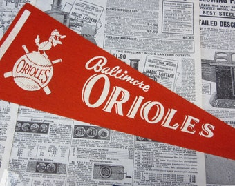 Rare Vintage Baltimore Orioles Baseball Pennant 15 Inch Pennant Banner Flag 1960s Era Collectible Vintage Sports Room Decor Old Baseball