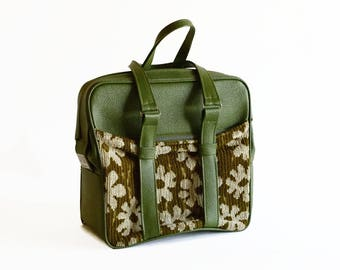 vintage Samsonite tote aspen green tapestry tote bag carry on 1960s travel luggage
