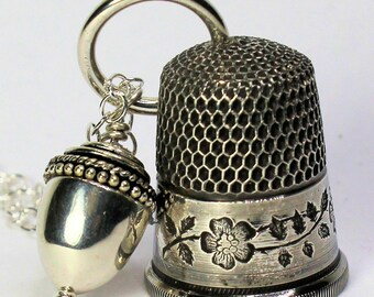 Antique Dogwood Thimble and Acorn Hidden Kisses Necklace Peter Pan and Wendy in Solid Sterling Silver