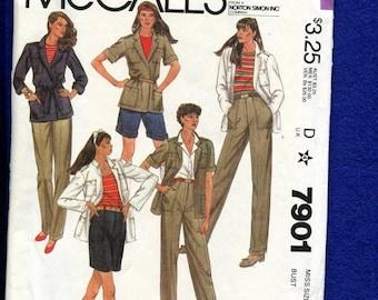 15% OFF SALE Vintage 1980's McCalls 7901 Safari Chic Wardrobe Cargo Pants, Jacket & Shorts Size 12 UNCUT