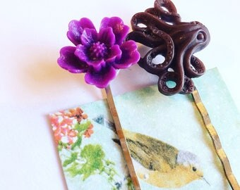 Flower hair clip / bobby pin. Octopus hair clip / bobby pin.