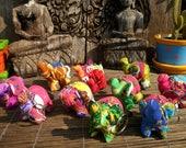 10 Textile Elephants, Hand Made Fabric Elephants. Elephant Supply, Elephant Charm,