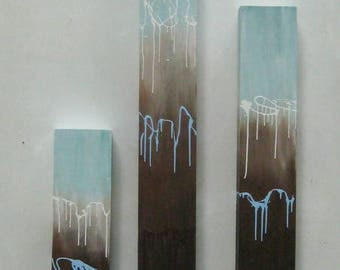 Art- Painting-  Wood Wall Art-  Abstract Painting (On Wood)-  Reclaimed Wood Wall Art- Wall Art, Pillar Art-  Blue + Brown