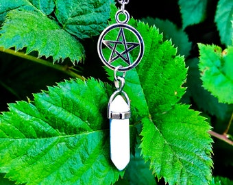 Silver Pentacle and White Pointed Stone Chain Necklace