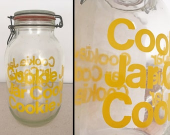 1970s COOKIE Jar Large Yellow + Clear Glass Canister