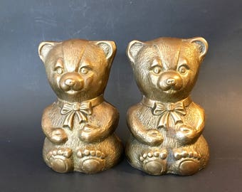 Vintage Pair of Brass Bear Bookends, Made in Korea