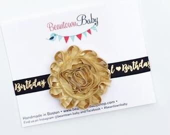 Black and Gold Birthday Girl Headband, BLACK Birthday Girl Headband, Black and Gold First Birthday Headband, Black and Gold Baby Girl Outfit
