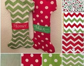Dog Stocking Christmas, Personalized Dog Bone Stocking, Gifts for Dog People, Chevron Stocking Dog Gifts for Him, Personalized Pet Stocking