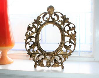 Antique Oval Picture Frame Victorian Decor Cast Iron in Gold