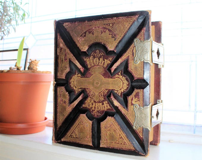Large Antique Bible 1892 Illustrated Pictorial Parallel Leather Cover