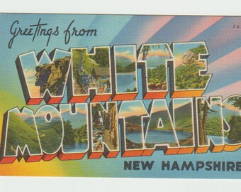 Linen Postcard, Greetings from White Mountains, New Hampshire, Large Letter