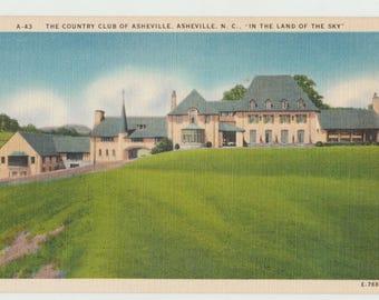 Linen Postcard, Asheville, North Carolina, Asheville Golf Country Club