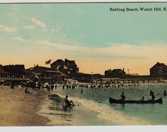 Vintage Postcard, Watch Hill, Rhode Island, Bathing Beach, ca 1920
