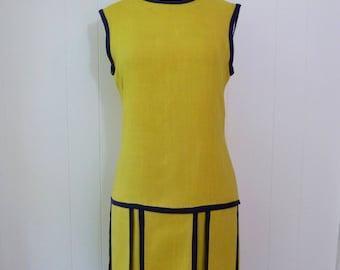 60's Eve Le Coq Mod Dress Drop Waist Straight Shift Car Wash Panel Skirt Designer Yellow Sleeveless Day Dress M