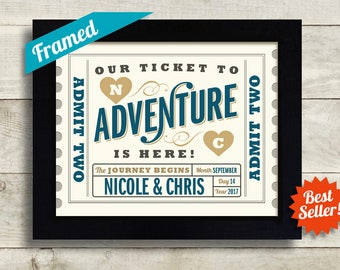 Adventure Awaits Wedding Ticket Personalized Wedding Gift for Couple Unique Engagement Gift Anniversary Gift Tandem Bicycle Newlyweds Gift