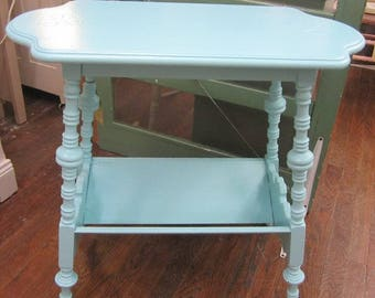 Hand Painted Vintage Coastal Table Magazine Book Farmhouse Prairie Shabby Cottage Chic
