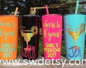 Personalized Bachelorette Party Cups / 40th Birthday / Cheers to 40 Years / Tumbler with lid & straw / Bridesmaids / Girls Weekend/Cocktail