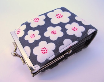 Flowers on grey Credit card wallet - Credit card holder - Credit card case - Business card holder - Business card case
