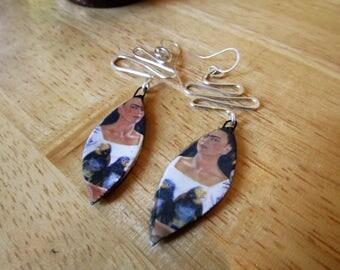 Frida II - Handmade ceramic and sterling silver earrings