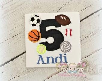 Sports birthday shirt - sports balls birthday shirt - sports themed birthday shirt - football, baseball, volleyball, soccer, basketball