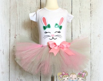 Bunny outfit - Easter bunny tutu outfit - girls 1st Easter outfit -bunny face outfit - pink and mint Easter bunny outfit - bunny with bows
