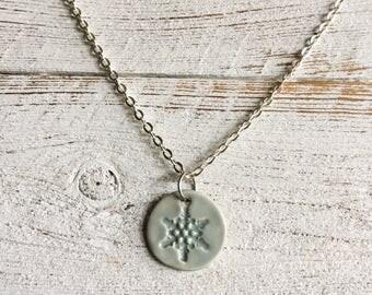 Snowflake Pendant, Ceramic Pendant, Light Blue, Snow, Gift Ideas, Winter, Christmas, Ceramcs, Snowflake Jewelry, Ceramic Jewelry