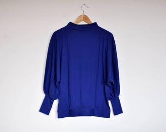 NOS Vintage Blue Oversized Bat Sleeve Slouchy Sweatshirt Pullover Jumper