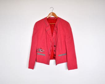Vintage Peachy Pink Oversized Blazer Jacket Bavarian Retro Country Short Coat With Embroidery