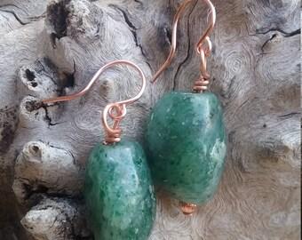 Aventurine Copper Earrings