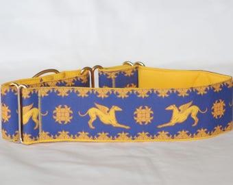 "2"" Martingale Dog Collar Greyhound Angels - Gold on Blue"