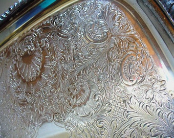 Vintage Tea Tray Sheffield Silverplate Co. Serving Tray Acanthus Leaves Shells Gadroon Border Engraved Silverplate Tray Entertaining Estate