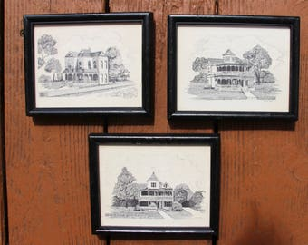 Three vintage ink and pen sketches