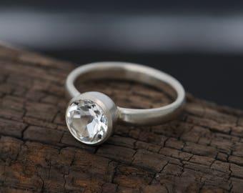 White Topaz Engagement Ring - White Topaz Solitaire Ring - Round White Topaz Ring - Size 8.5 Engagement Ring - FREE SHIPPING