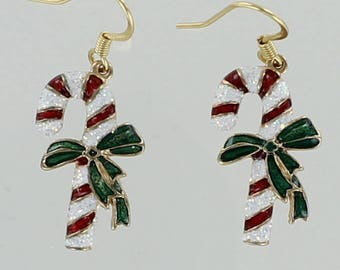 Sparkling Glitter Christmas Candy Cane EARRINGS - Gold Plated  and Enamel Dangles on French Wires