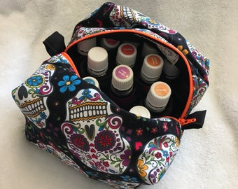 Sugar skulls essential oils soft case, holds 20 bottles (5ml-15ml).  Ready to ship.  Handmade.