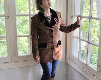 Orange Rust Tweed Jacket/Vintage 1980s 1990s/Tailored Women's Check Wool Blazer/Black Velvet Collar/Size Small