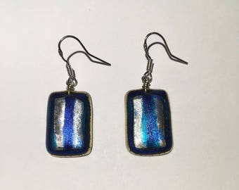 Bright blue and silver earrings