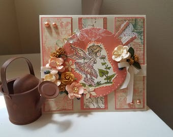 Handmade Embellished Card - Fairy Garden