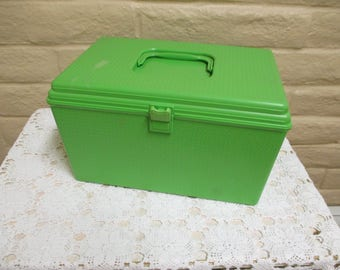 Large Wilson Wil-Hold Sewing Box & Contents - Vintage Sewing Box